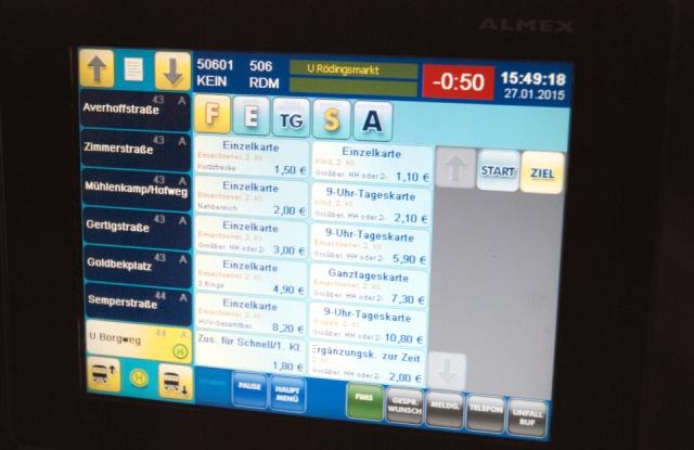 Anzeige Fahrscheinautomat