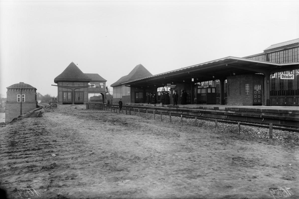 Die Haltestelle Ohlsdorf im Dezember 1914