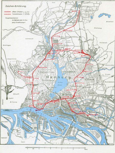 Haamburg U-Bahn-Plan und Ausbau 1912