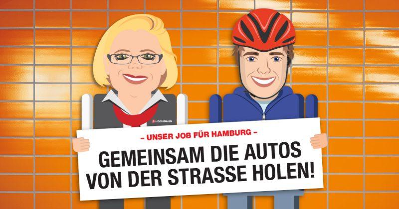 Busfahrerin und Radfahrer