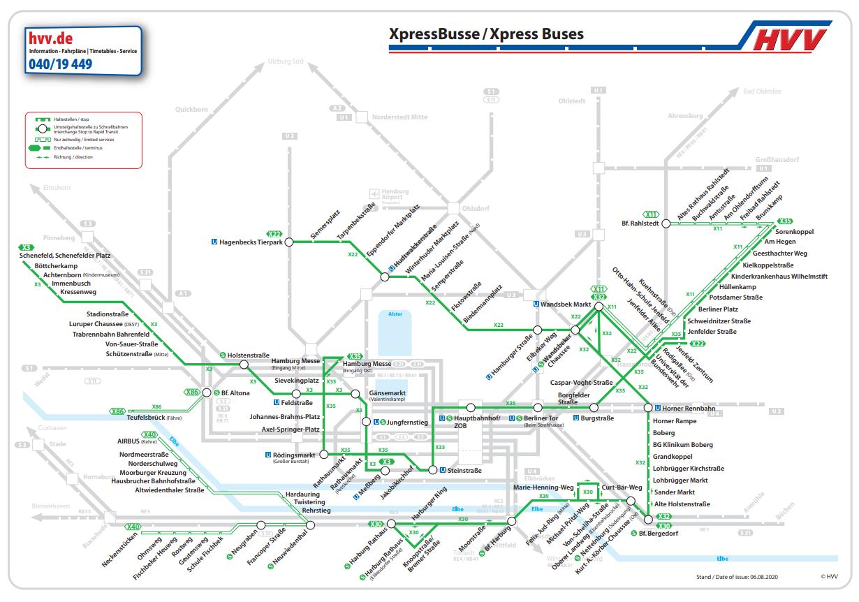 Liniennetz der XpressBusse in Hamburg
