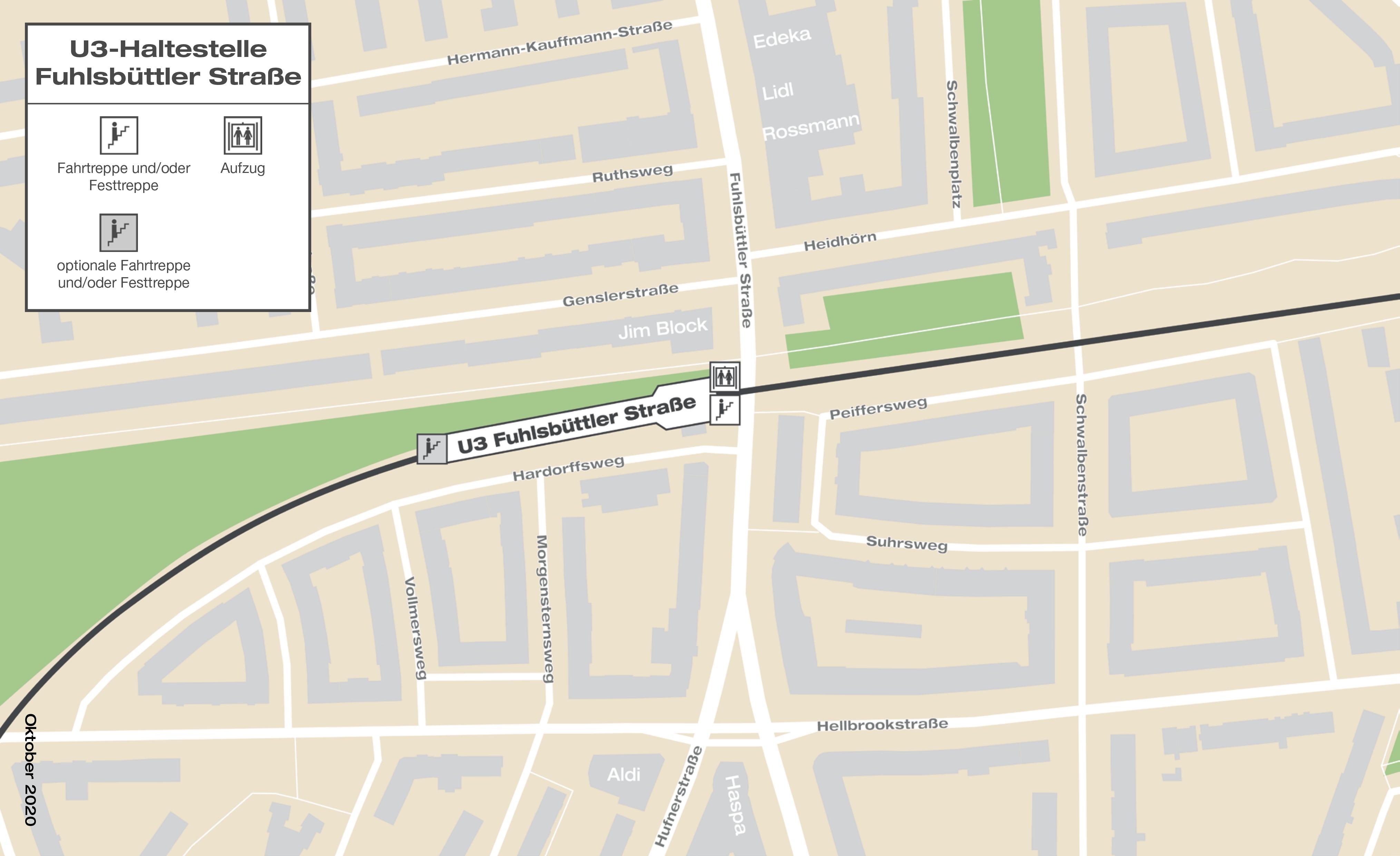 Geplante Haltestellenlage Fuhlsbüttler Straße