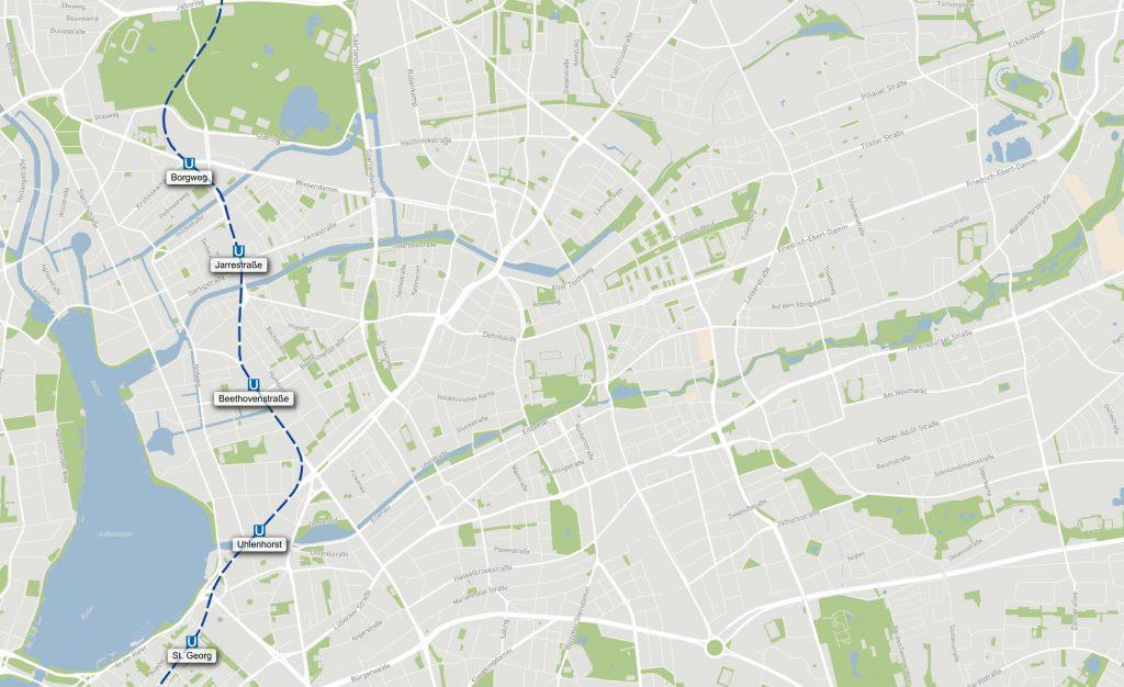 Östlicher Linienverlauf U5